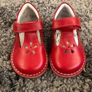 Girls Kid Express Red Leather Velcro Shoes